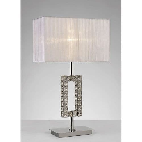 Diyas  IL31536 Florence Rectangle Table Lamp White Shade Chrome/Crystal